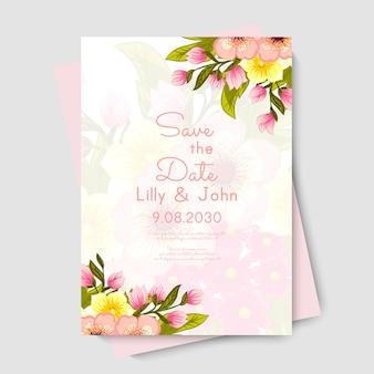Plantilla de tarjeta de boda floral
