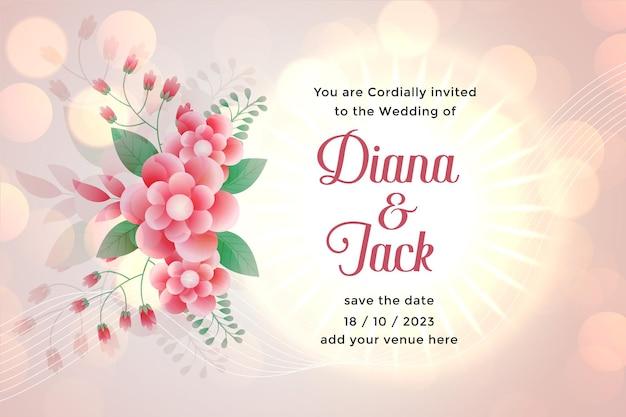 Plantilla de tarjeta de boda de flores con espacio para texto