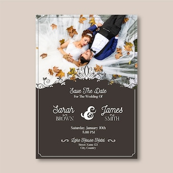 Plantilla de tarjeta de boda con foto