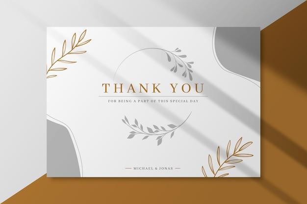 Plantilla de tarjeta de boda gracias