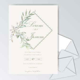 Plantilla de tarjeta de boda hermosa acuarela con follaje