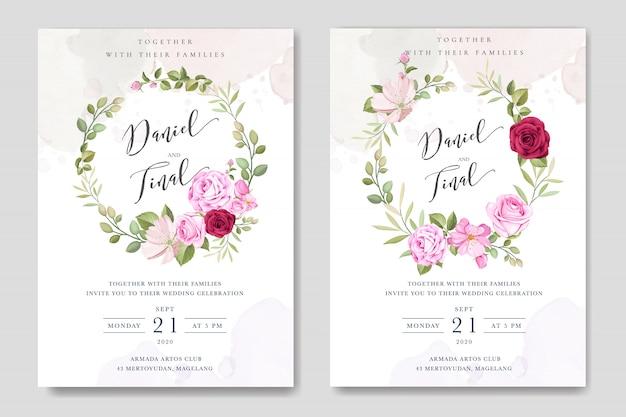 Plantilla de tarjeta de boda hermosa con coloridas rosas granate