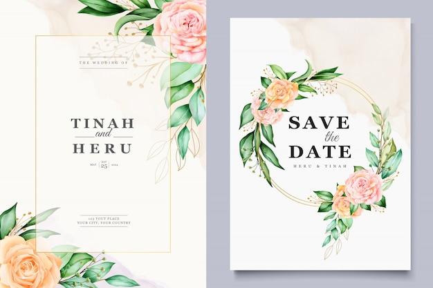 Plantilla de tarjeta de boda con hermosa corona floral acuarela