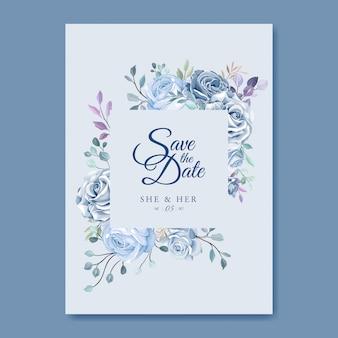 Plantilla de tarjeta de boda con hermosa corona floral azul