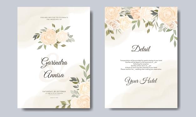 Plantilla de tarjeta de boda con hermosa corona floral vector premium