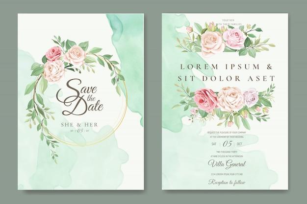 Plantilla de tarjeta de boda hermosa corona floral