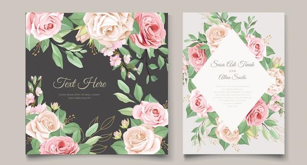 Plantilla de tarjeta de boda con hermosa corona floral