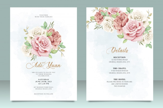 Plantilla de tarjeta de boda hermosa con diseño de flores y hojas