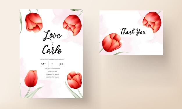 Plantilla de tarjeta de boda hermosa flor de tulipán rojo