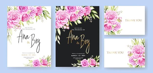 Plantilla de tarjeta de boda hermosa flor