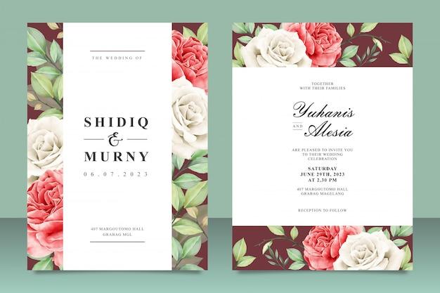 Plantilla de tarjeta de boda hermosa con flores y hojas