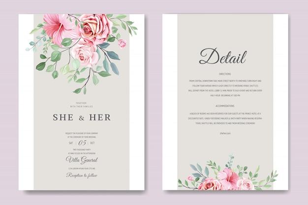 Plantilla de tarjeta de boda hermosa con hermosas flores y hojas