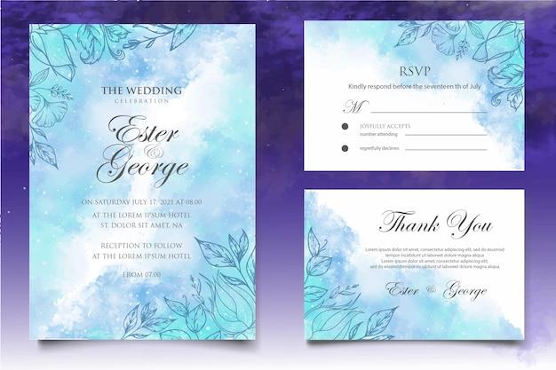 Plantilla de tarjeta de boda hermosa splash y floral lineart