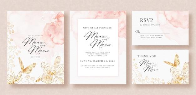 Plantilla de tarjeta de boda con hermosas flores doradas y arte lineal de mariposas