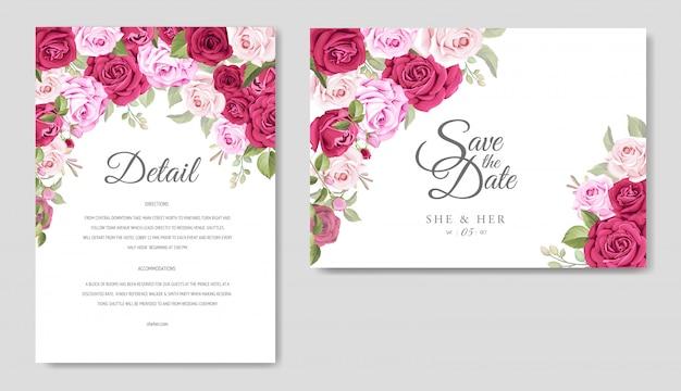 Plantilla de tarjeta de boda con hermosas flores y marco de hojas