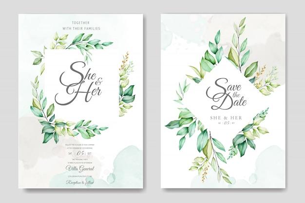 Plantilla de tarjeta de boda con hermosas hojas de acuarela