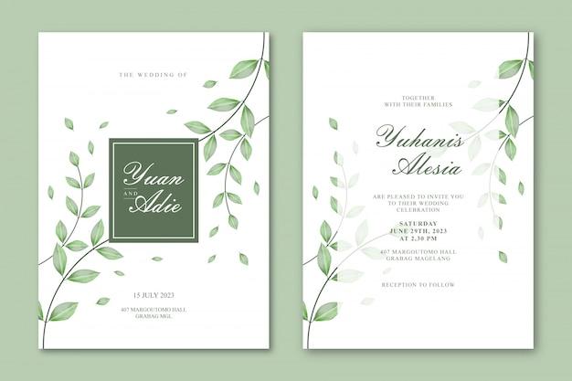 Plantilla de tarjeta de boda con hermosas hojas