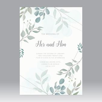 Plantilla de tarjeta de boda hojas verdes suaves con anillo