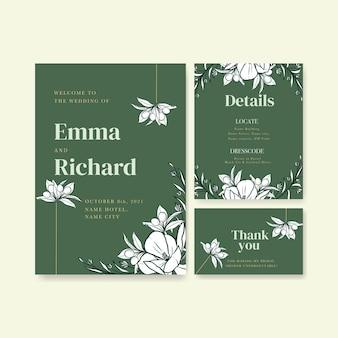 Plantilla de tarjeta de boda para invitación y matrimonio.