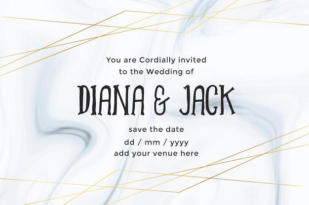Plantilla de tarjeta de boda de lujo con fondo de textura de mármol