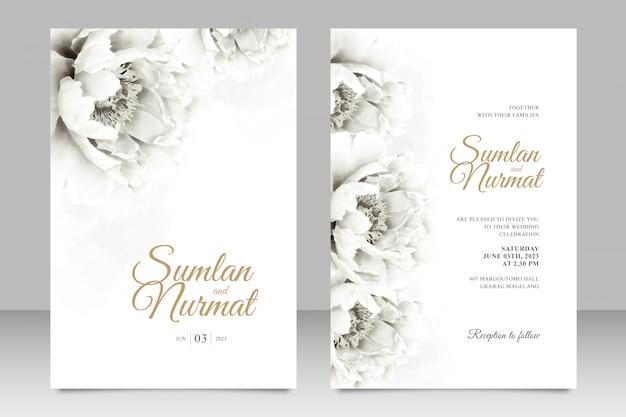 Plantilla de tarjeta de boda minimalista con acuarela de peonías