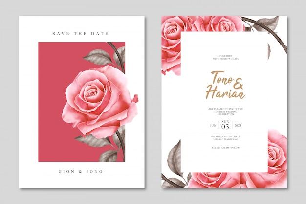 Plantilla de tarjeta de boda minimalista con hermosas flores rosas