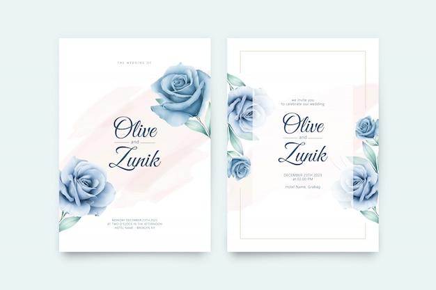 Plantilla de tarjeta de boda minimalista con rosas flores azules acuarela
