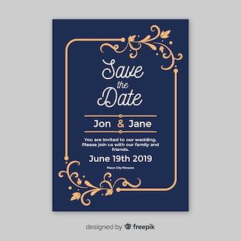 Plantilla de tarjeta de boda ornamental vintage