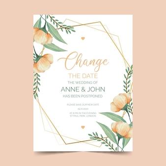 Plantilla de tarjeta de boda pospuesta acuarela con flores