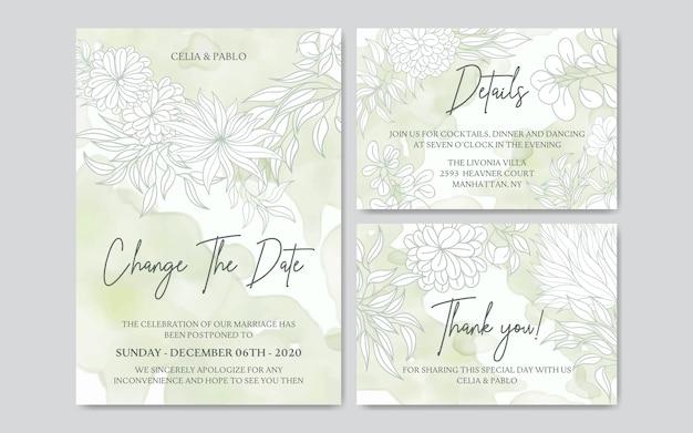 Plantilla de tarjeta de boda pospuesta con fondo abstracto acuarela