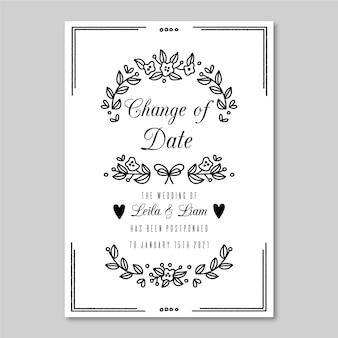 Plantilla de tarjeta de boda pospuesta monocromática