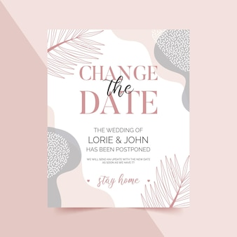 Plantilla de tarjeta de boda pospuesta tipográfica con hojas
