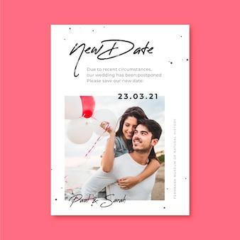 Plantilla de tarjeta de boda pospuesta