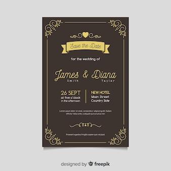 Plantilla de tarjeta de boda retro con elementos dorados