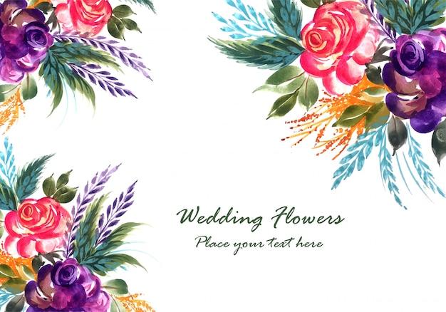 Plantilla de tarjeta de boda romántica hermosas flores