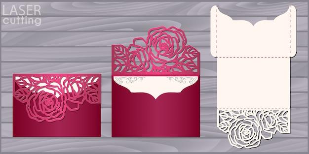 Plantilla de tarjeta de boda troquelada con láser. invitación sobre de bolsillo con estampado de rosas. invitación de encaje de boda