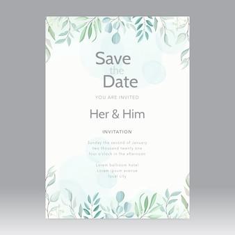 Plantilla de tarjeta de boda de vector de hermosas hojas