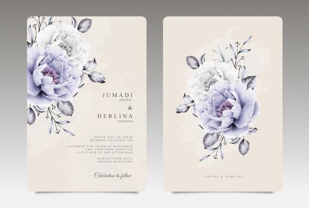 Plantilla de tarjeta de boda vintage con acuarela de peonía púrpura y blanca