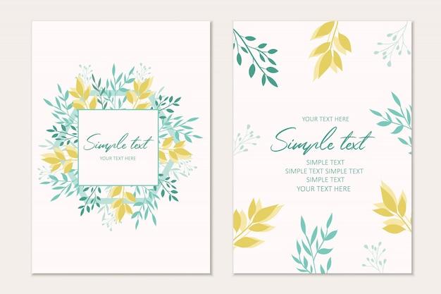 Plantilla de tarjeta botánica. tarjetas de invitación