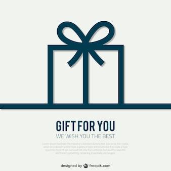 Plantilla de tarjeta con caja de regalo