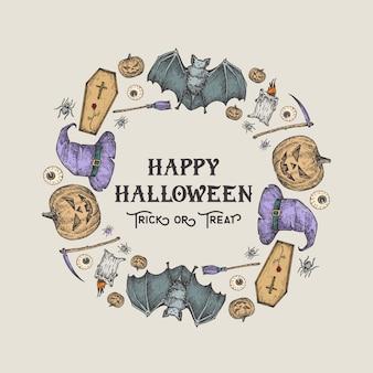 Plantilla de tarjeta, cartel o corona de bosquejo de halloween. ilustración de vacaciones publicitarias con tipografía retro y colores brillantes. calabaza, murciélago, ataúd, sombrero, guadaña y vela dibujados a mano.
