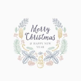 Plantilla de tarjeta, cartel o corona de dibujo dibujado a mano de saludos de navidad.