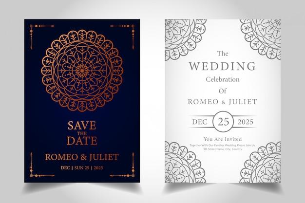 Plantilla de tarjeta de celebración de boda de mandala de lujo