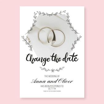 Plantilla de tarjeta de ceremonia retrasada de anillos de boda