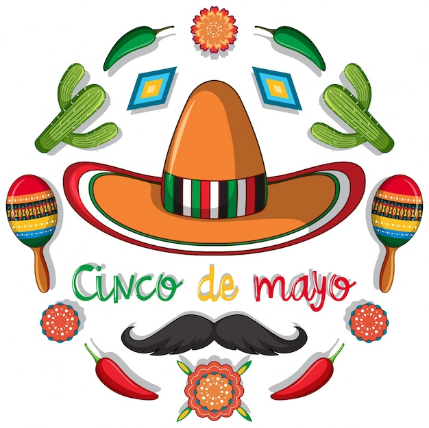 Plantilla de tarjeta de cinco de mayo con decoraciones mexicanas