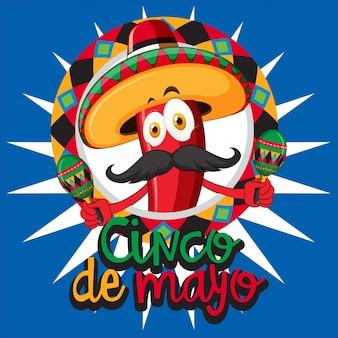 Plantilla de tarjeta de cinco de mayo con sombrero de chile