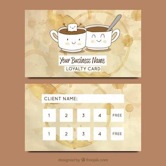 Plantilla de tarjeta de cliente de cafetería dibujada a mano