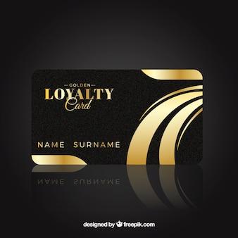 Plantilla de tarjeta de cliente elegante con estilo dorado