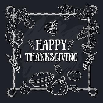 Plantilla de tarjeta de composición de felicitación de otoño de acción de gracias con letras en pizarra y marco de cuerda