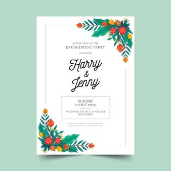 Plantilla de tarjeta de compromiso con motivos florales